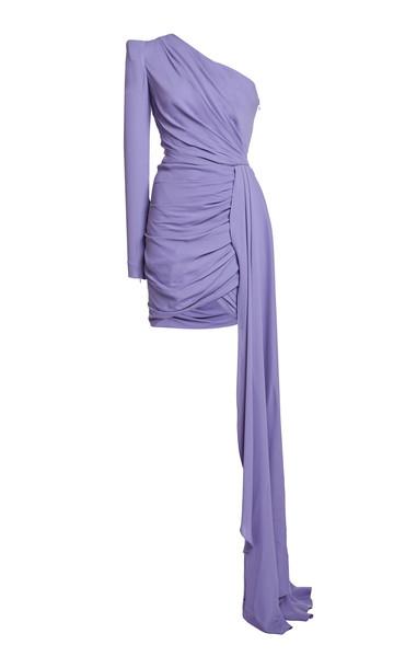 Zuhair Murad Asymmetric Draped Cady Mini Dress in purple