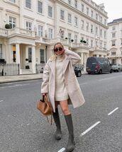 coat,oversized coat,turtleneck dress,sweater,knee high boots,bag