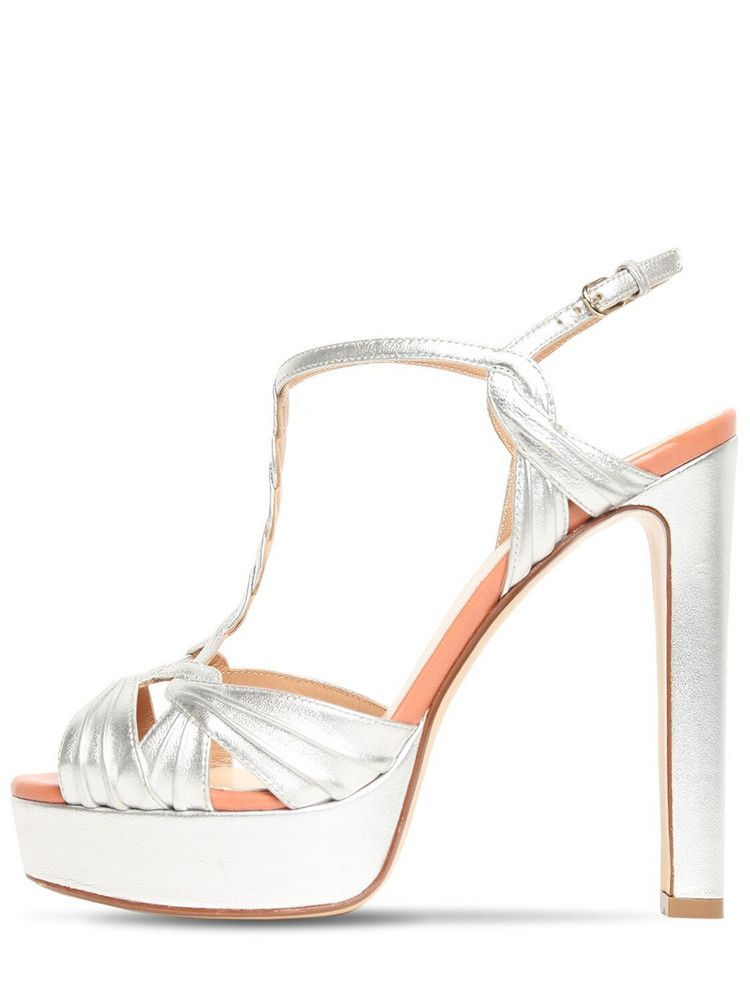 FRANCESCO RUSSO 130mm Metallic Leather Sandals in silver