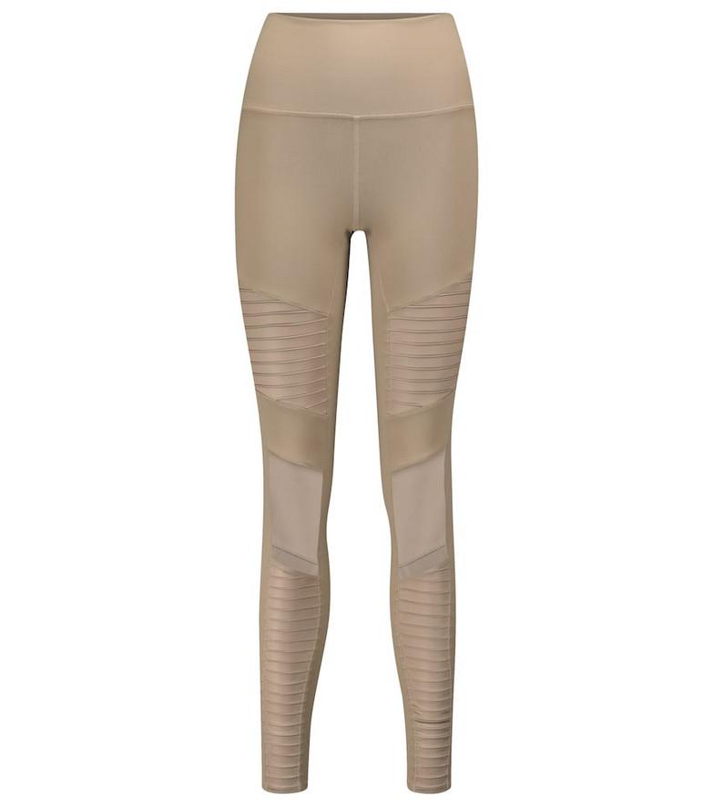 Alo Yoga Moto high-rise leggings in beige