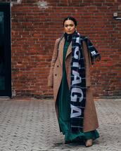 scarf,balenciaga,plaid,maxi dress,green,brown boots,long coat,double breasted,black bag