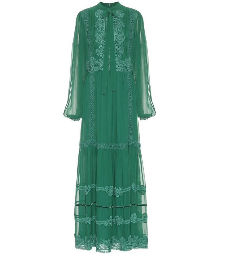 Costarellos Silk-chiffon maxi dress in green