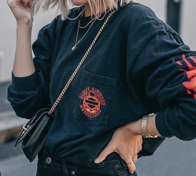 sweater haley davidson vintage hoodie flames