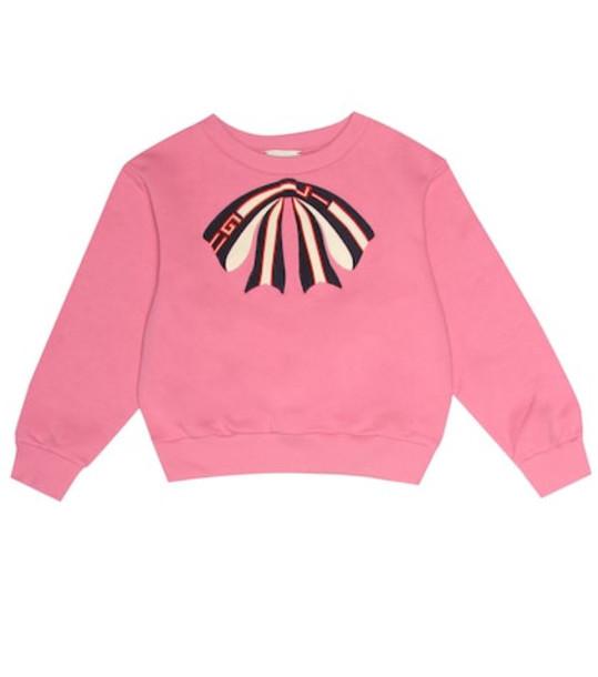 Gucci Kids Appliquéd cotton sweatshirt in pink