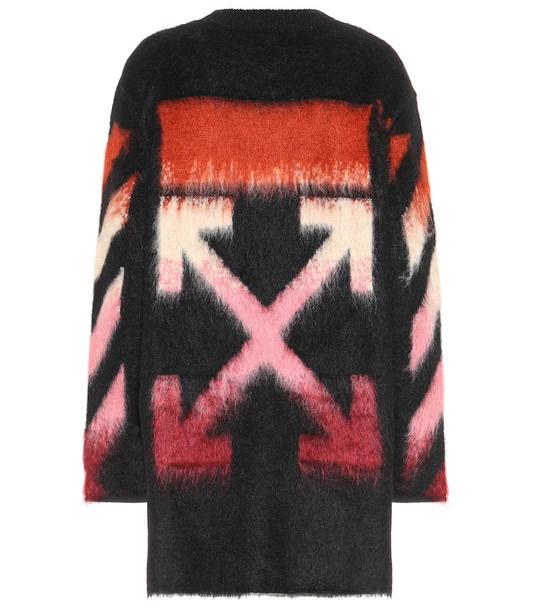 Off-White Logo mohair-blend sweater dress in black