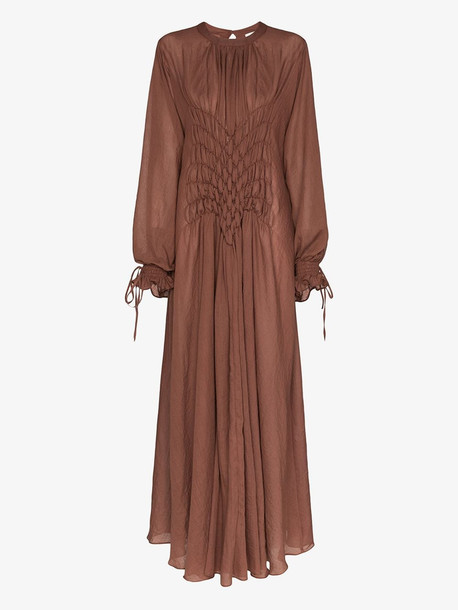 Masterpeace smocked cotton maxi dress in brown