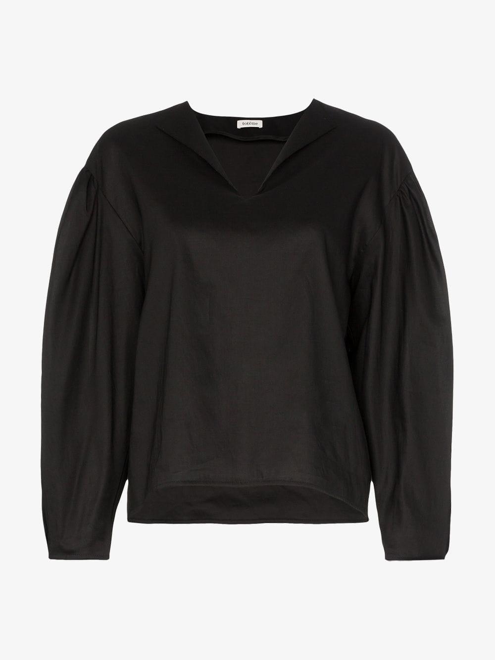 Toteme V-neck oversized shirt in black