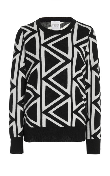 Madeleine Thompson Two-Tone Jacquard-Knit Cashmere Sweater in black