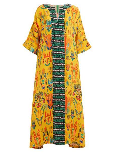Rianna + Nina Rianna + Nina - Patricia Carnival Print Silk Maxi Dress - Womens - Yellow Multi