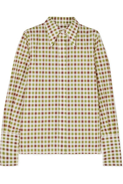 Victoria Beckham - Checked Cotton Shirt - Green
