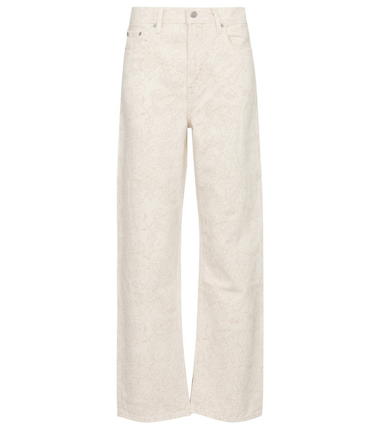 Ganni x Levi's® floral high-rise straight jeans in beige