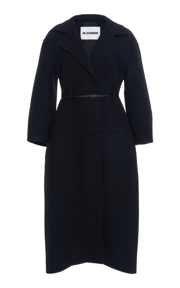 Jil Sander Belted Wool Coat in black