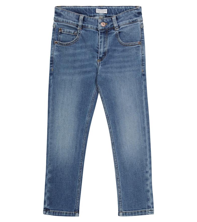 Brunello Cucinelli Kids Stretch cotton-blend slim jeans in blue
