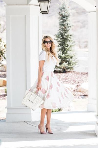 ivory lane blogger top skirt shoes bag sunglasses spring outfits midi skirt handbag pumps