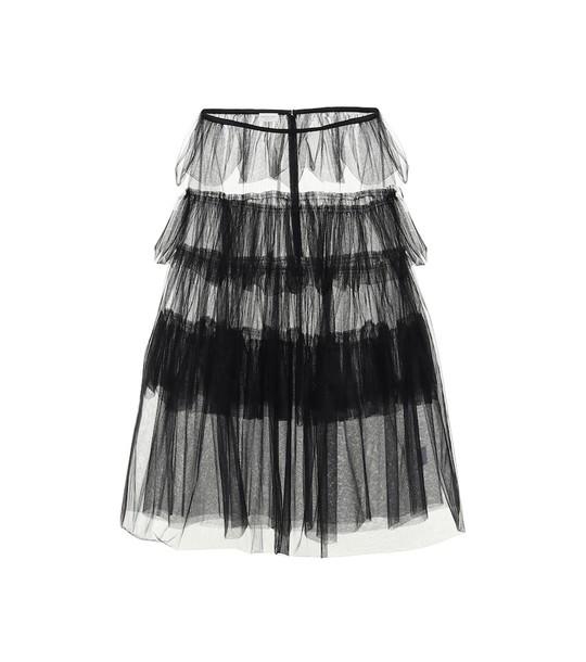 Dries Van Noten Tiered tulle skirt in black