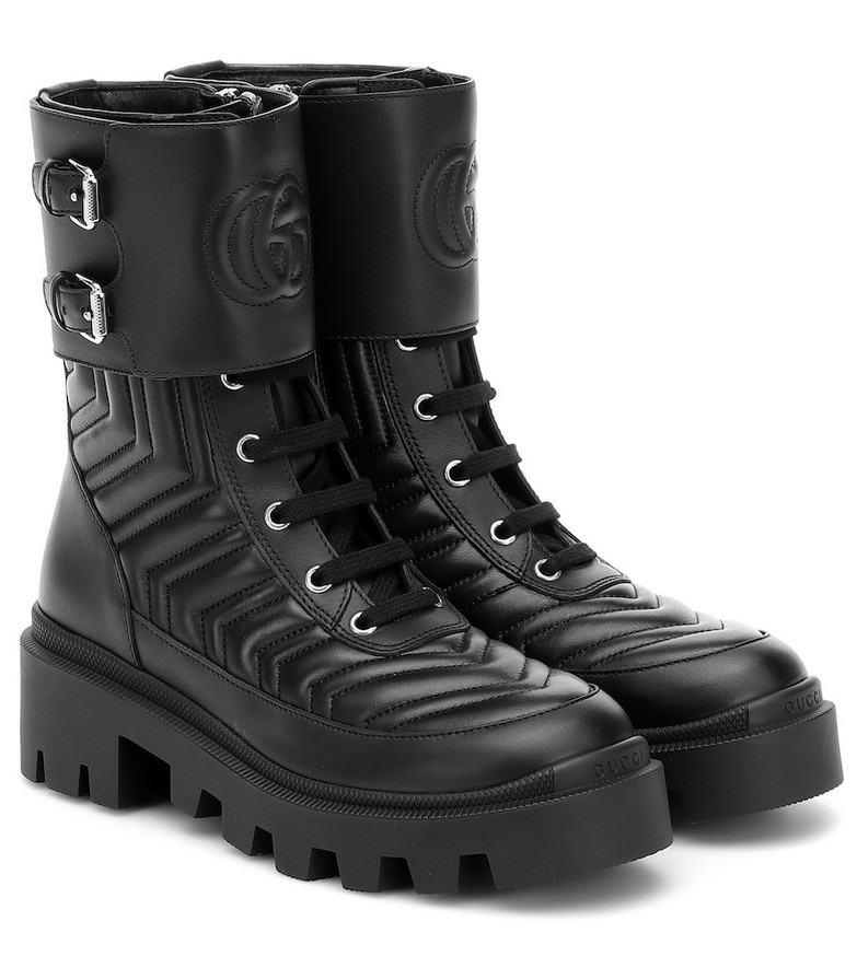 Gucci Frances leather combat boots in black