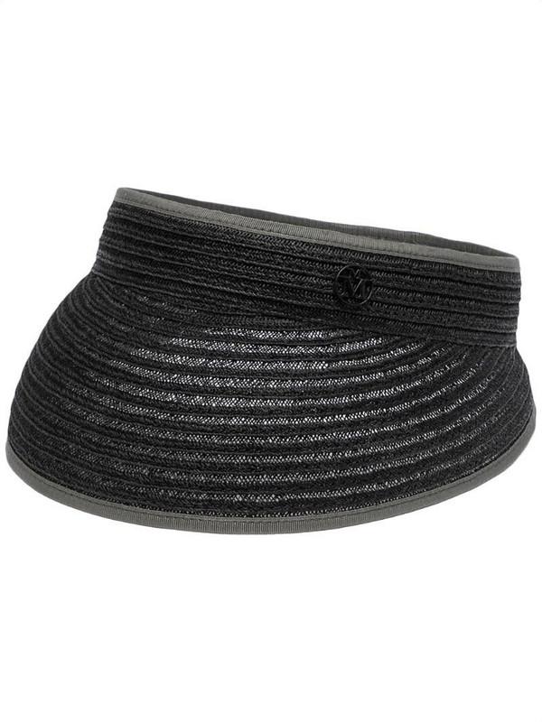 Maison Michel woven-effect visor hat in black