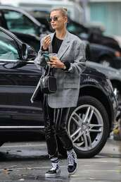 jacket,hailey baldwin,model off-duty,vinyl,pants,plaid,blazer