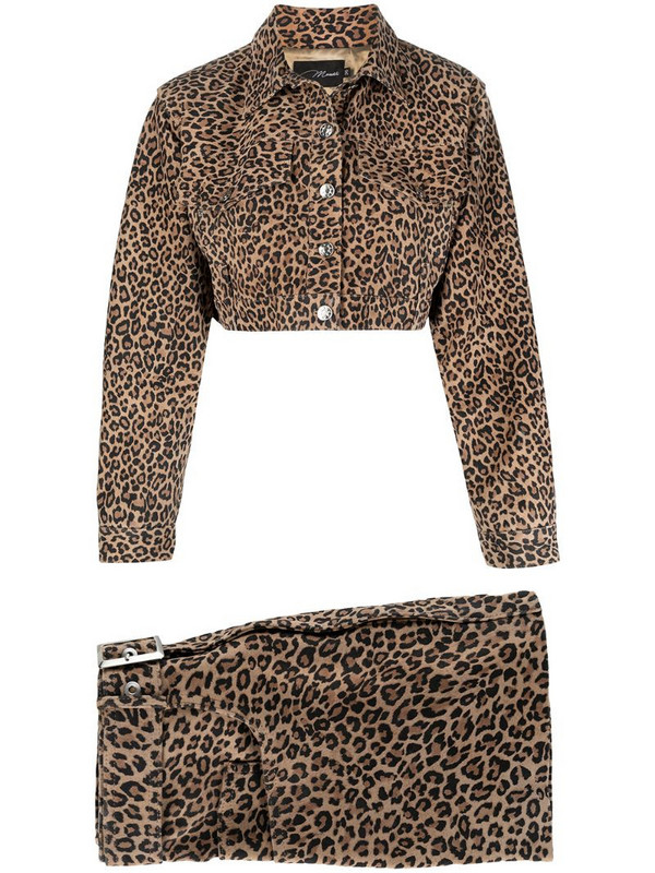 Manokhi leopard-print two-piece skirt suit in brown