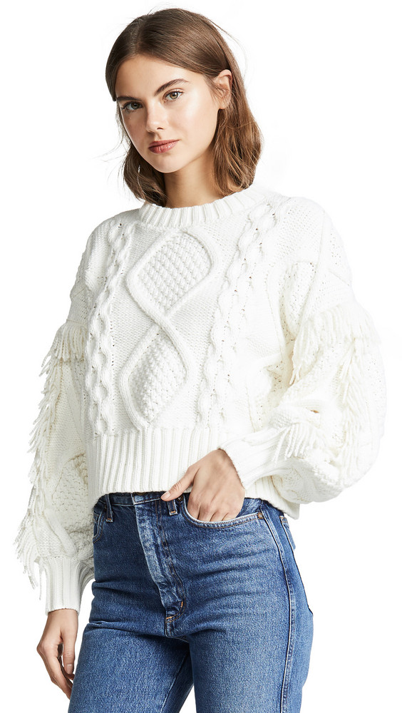 Line & Dot Jasper Fringe Cable Knit Sweater in ivory