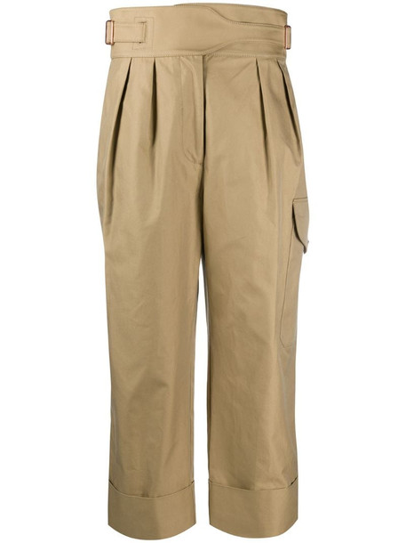 See by Chloé high waisted cropped trousers in neutrals