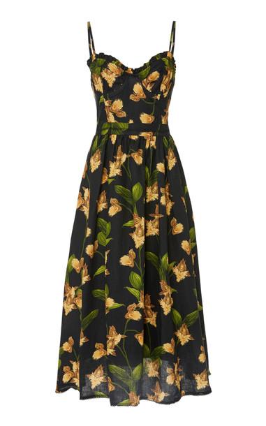 Agua by Agua Bendita Acacia Jardin Linen Midi Dress in black