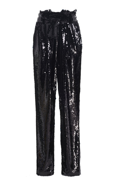 Sally LaPointe Belted Sequined Tapered Pants in black