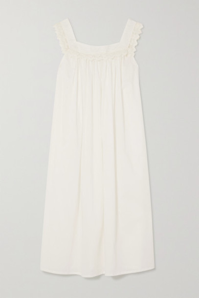 Pour Les Femmes - Tanya Lace-trimmed Cotton-voile Nightdress - White