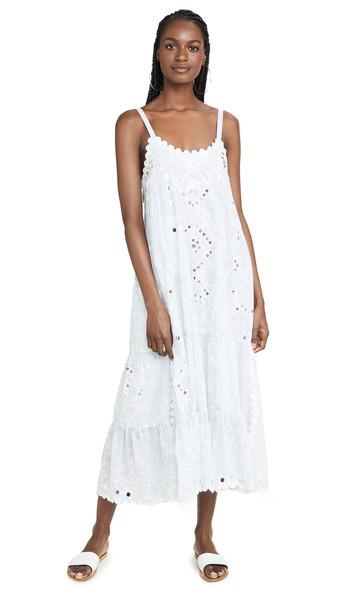 Juliet Dunn Printed Long Dress in blue / white / denim