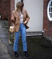 bag,shoulder bag,chloe,black boots,cropped jeans,straight jeans,blazer,white turtleneck top