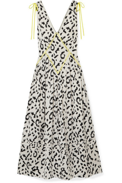 Self-Portrait - Embroidered Leopard-print Satin-jacquard Midi Dress - Cream