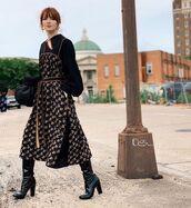 shoes,black boots,patent boots,miu miu,knee high boots,midi dress,black top,black bag