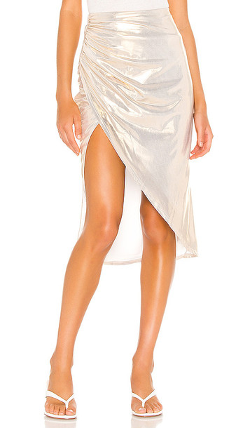superdown Topanga Slit Midi Skirt in Metallic Gold