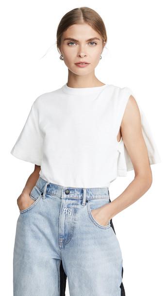 Alexander Wang Draped Short Sleeve T-Shirt in white