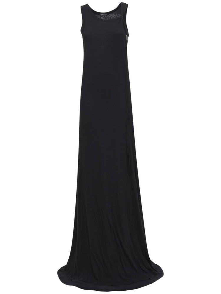 ANN DEMEULEMEESTER Leen Sleeveless Cotton Jersey Long Dress in black