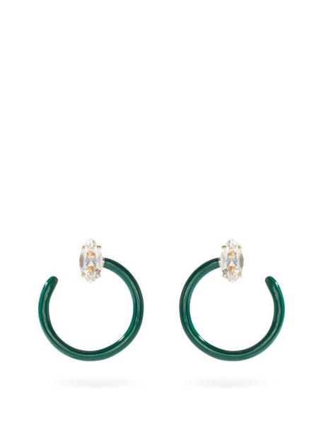 Bea Bongiasca - Tendril Crystal, 9kt Gold & Enamel Earrings - Womens - Green Multi