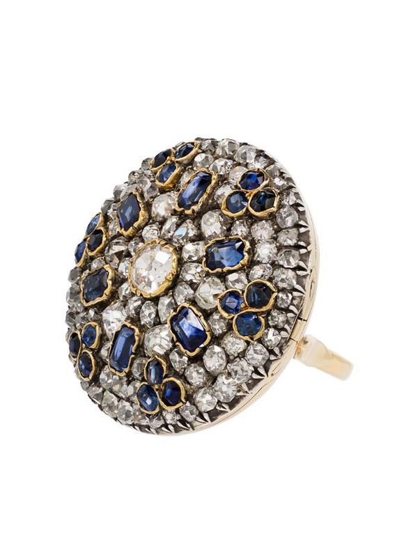 Mindi Mond 9K yellow gold diamond and sapphire ring