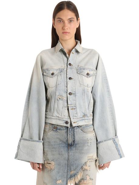 R13 Retrograde Trucker Cotton Denim Jacket in blue
