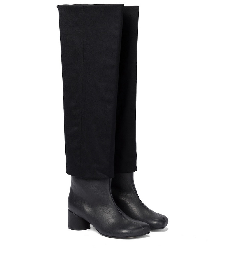 MM6 Maison Margiela Leather knee-high boots in black