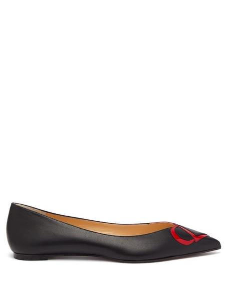 Christian Louboutin - Cl-logo Point-toe Leather Flats - Womens - Black