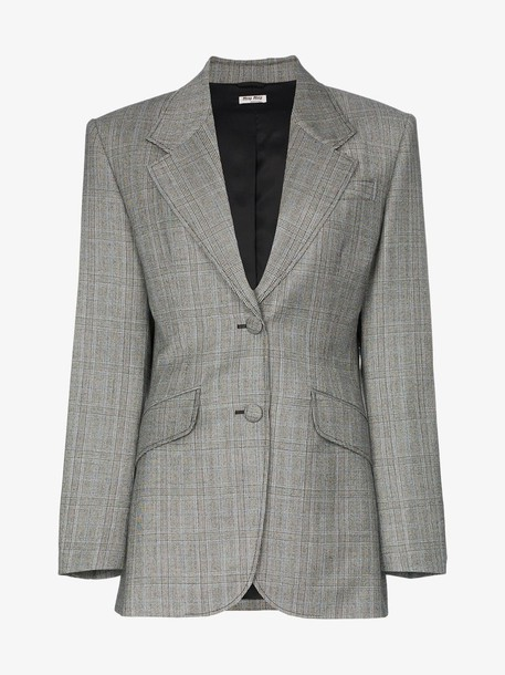 Miu Miu single-breasted Prince of Wales check print wool blazer