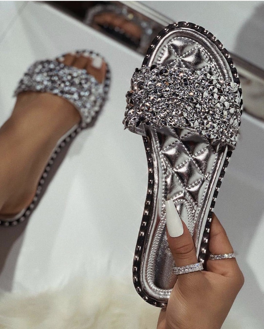 shoes, silver sandals, silver, sandals