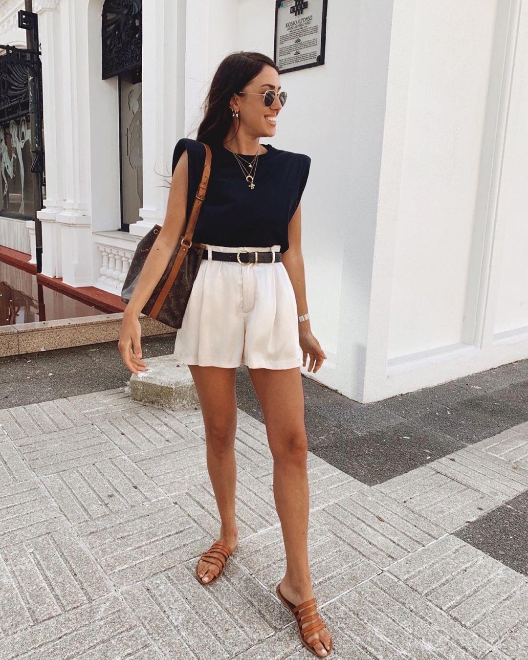 shoes flat sandals High waisted shorts black top shoulder bag