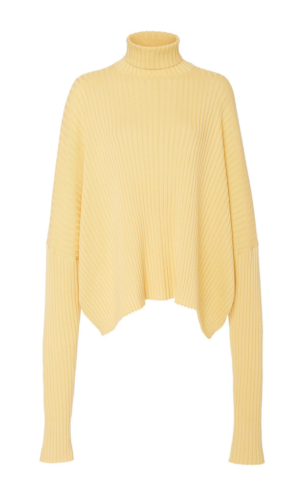 Sally LaPointe Oversized Ribbed Cashmere-Blend Turtleneck in yellow