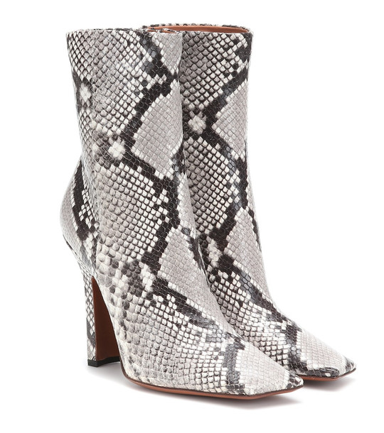 Vetements Snake-effect leather ankle boots in grey