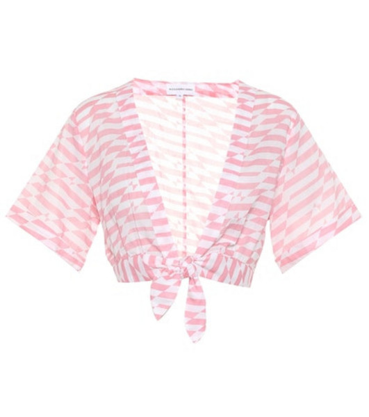 Alexandra Miro Sandy printed cotton crop top in pink