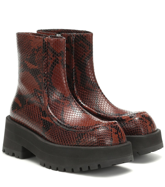 Marni Snake-effect leather ankle boots in brown