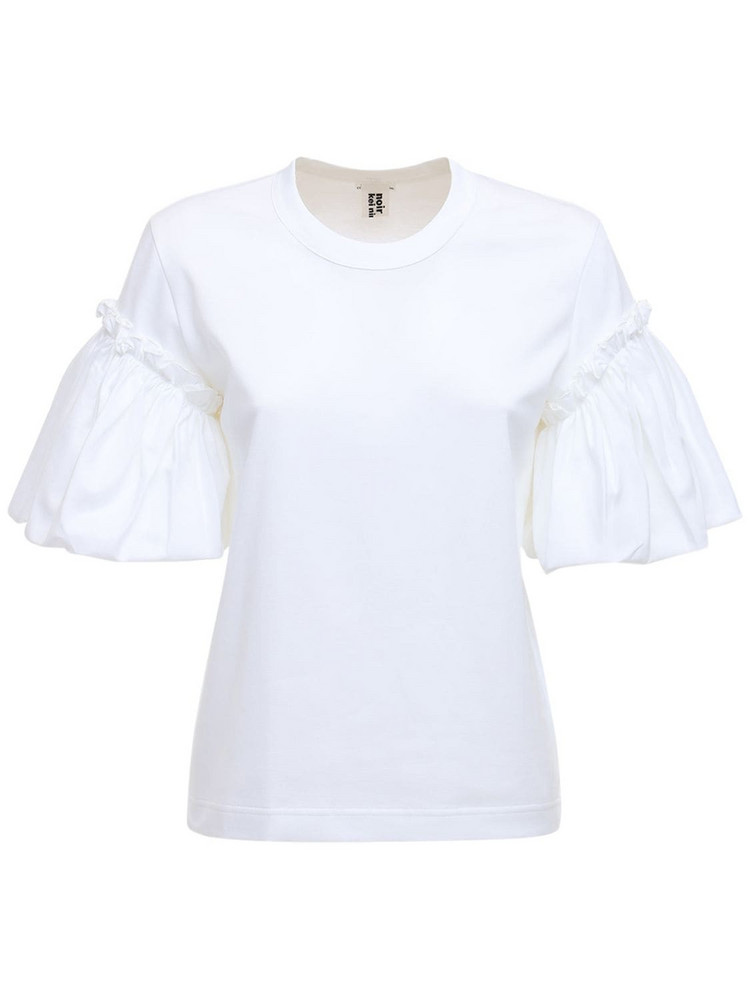 NOIR KEI NINOMIYA Ruffled Cotton Jersey T-shirt in white