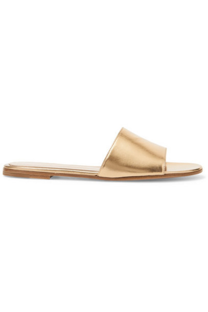 Gianvito Rossi - Metallic Leather Slides - Gold