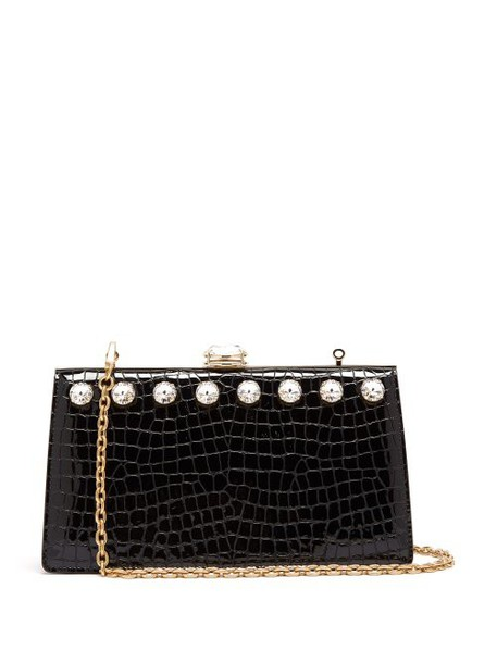 Miu Miu - Solitaire Crystal Embellished Leather Clutch - Womens - Black
